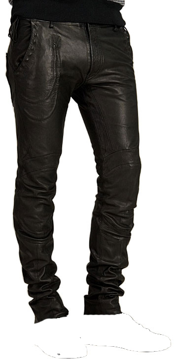 One of a kind paneled leather pant for men