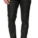 Cross zip closing leather pant for men
