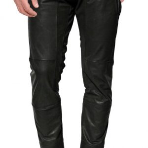 Cross zip closing leather pant for men