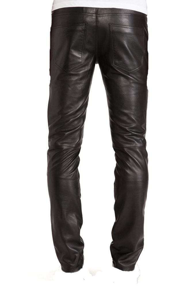 Mens leather trapped fit biker pants