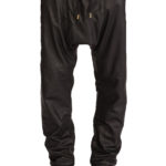 Stylish mens leather drop crotch skinny pants with toggle closure hem