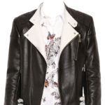 Mens leather jacket with contrast detail
