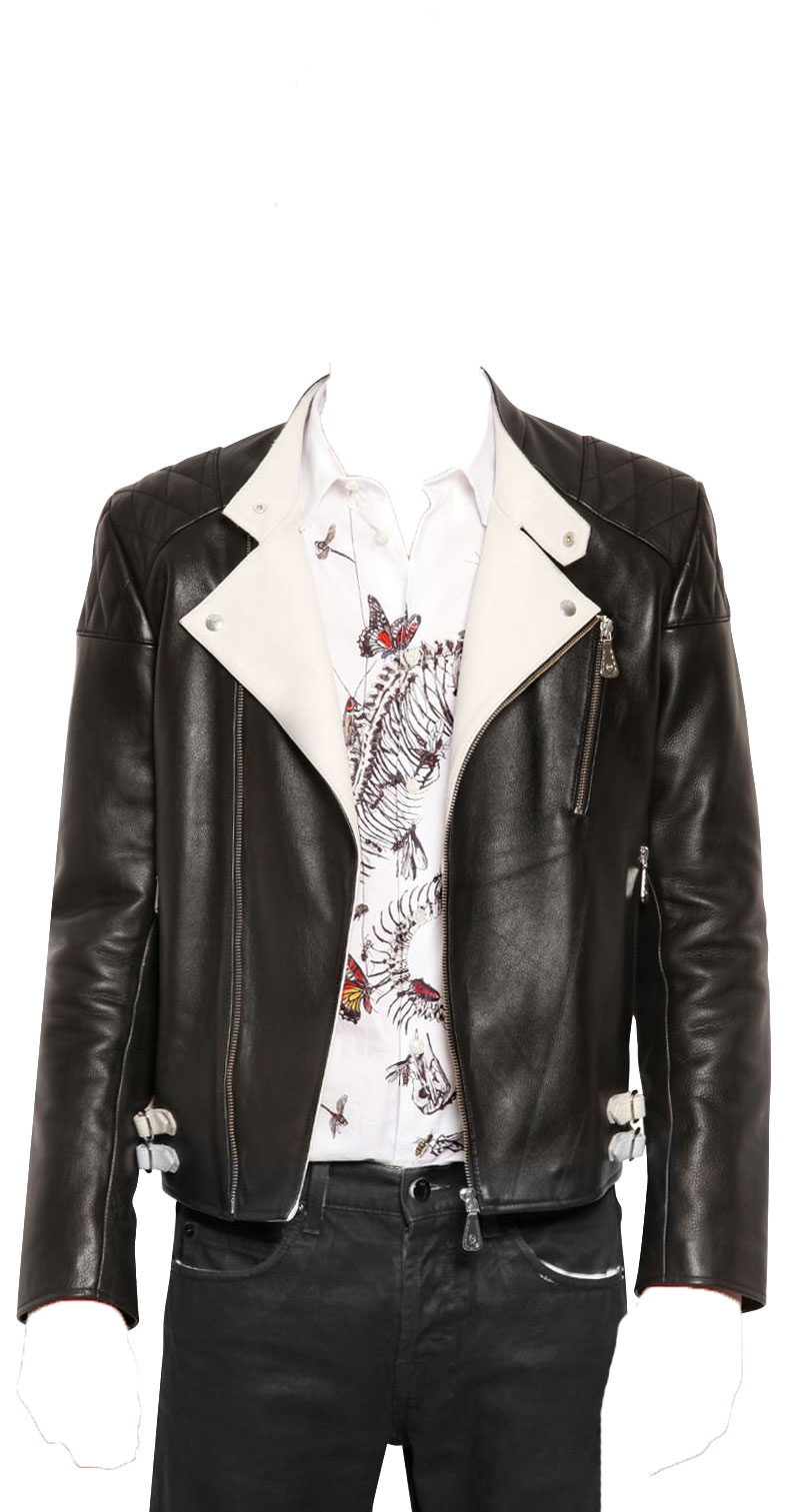 a9396c7f2 Mens leather jacket with contrast detail