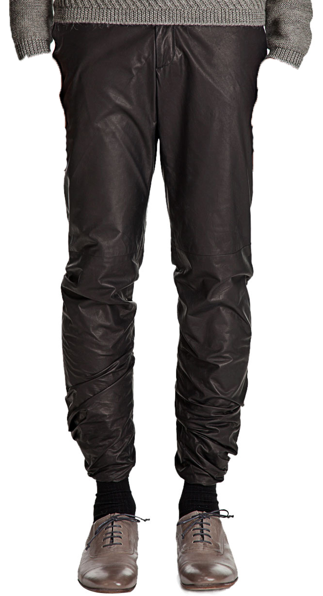 Modern-day tapered leg leather pant for men