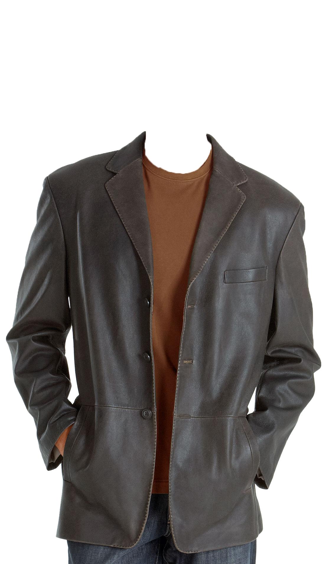 Notch Lapel Collar Mens Leather Blazer Mens Leather Jacket