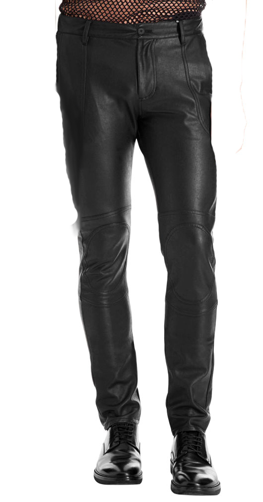 Skin fit athletic leather pants for men