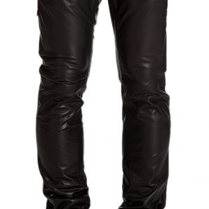 Slim fit slightly tapered leather pant for men