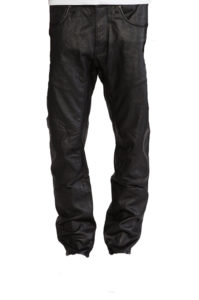 Stylish men Lambskin leather pants with knee patches