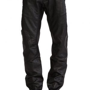 Stylish Mens Five Pocket Leather Pants with rivet accent