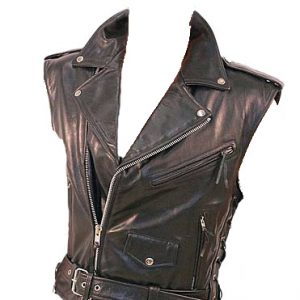 Unbalanced style leather vest for men