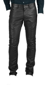 Thin informal leather pant for men